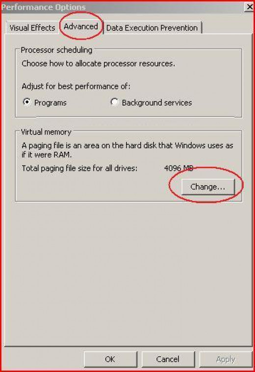 "Performance Option -  Click on ""Change"""