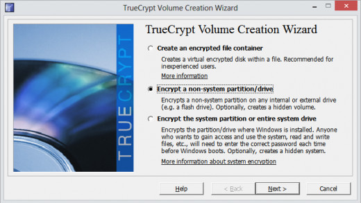 Select Encrypt a non system partition / drive