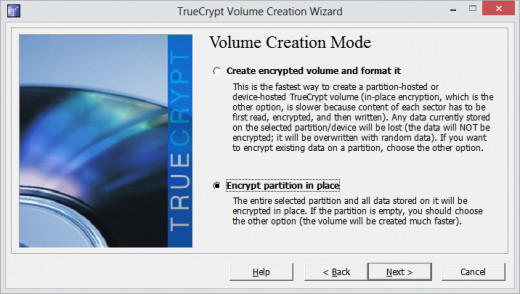Select encrypt partition in place if it already contain some data