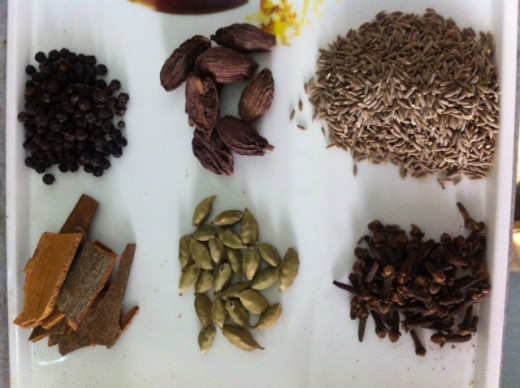 The Garam Masala, usually includes, Black and Green Cardamom, Black and white Cumin seeds, Cloves, Black Pepper and Cinnamon
