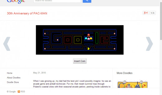 Screenshot of Pacman doodle by Google on 30th Anniversary of PAC-MAN