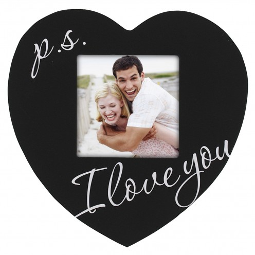 Celebrated Moments Black Wood Heart Picture Frame, P.S. I Love You, 3.5 by 3.5-Inch