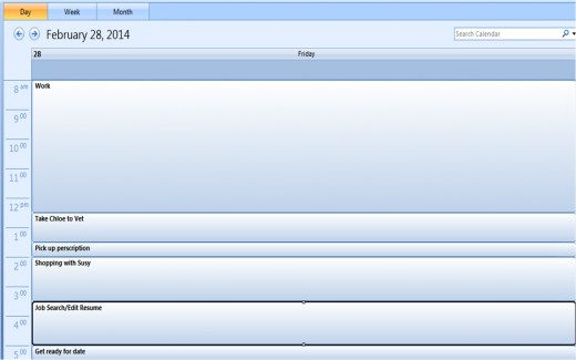 Outlook is a great tool for keeping on top of your tasks. Here is a sample calendar.