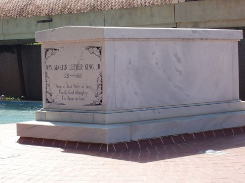 Martin Luther King Jr.'s tomb, at the Martin Luther King Jr. Historic Site.  This was taken prior to the death of Coretta Scott King.