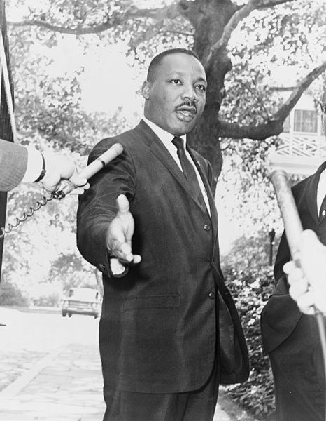 Martin Luther King Jr. photo taken July 30, 1964.  Gracie Mansion, Rev. Martin Luther King press conference (World Telegram, and Sun photo) by Dick DeMarsico.