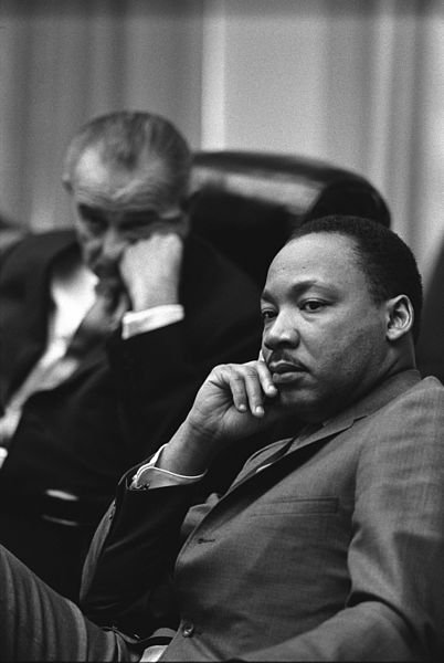 Taken in 1966, this is Martin Luther King Jr. and Lyndon B. Johnson.  They were having a meeting in the White House. Photo taken by Yoichi R. Okamoto, White House Press Office (WHPO), and in the public domain.  This is one of my favorite photos.