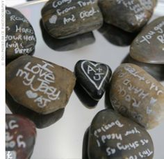 Write your compliments on rocks and add them to a mason jar or vase.  Then add freshly picked flowers.