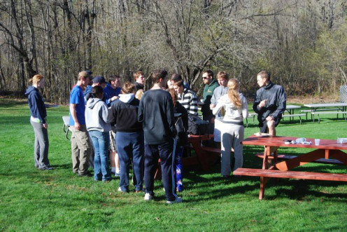 Congregating during breakfast to stay warm. 2010