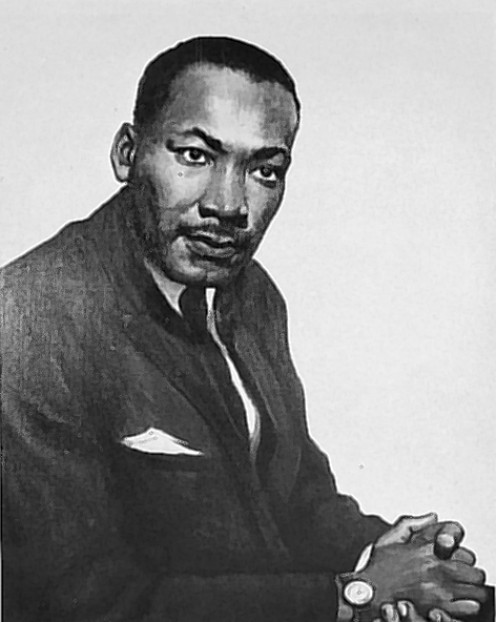A portrait of Rev. Martin Luther King Jr., By Betsy G. Reyneau.  In the Public Domain