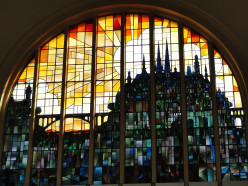 Stained glass window, main hall, Luxembourg City railroad station