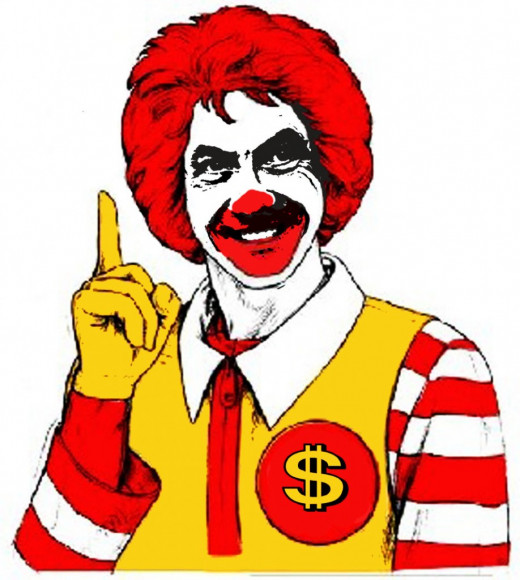 This picture is easily identified as Ronald McDonald, but the artist changed a few things to get his message across.