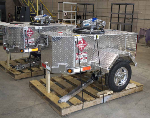 Two fuel trailers that are almost ready to be shipped from our Gas Trailer warehouse. Each features an electric fuel pump and quality craftsmanship.