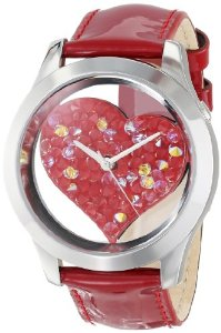 GUESS Red Crystal Heart Watch