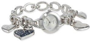 Women's Silver Dial Silver-Tone Heart Charms Watch