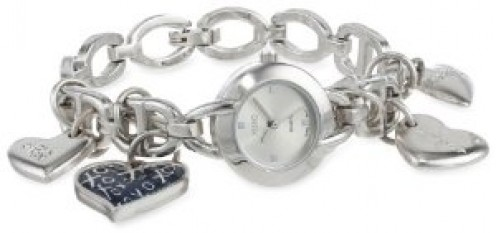 Women's Silver Dial Silver-Tone Heart Charms Watch