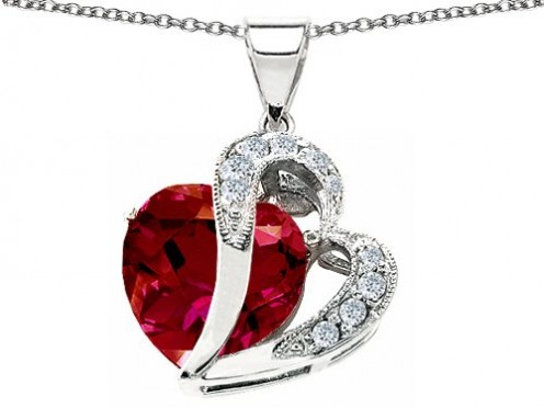 Original Star K 12mm Created Ruby Double Heart Pendant With Sterling Silver Chain