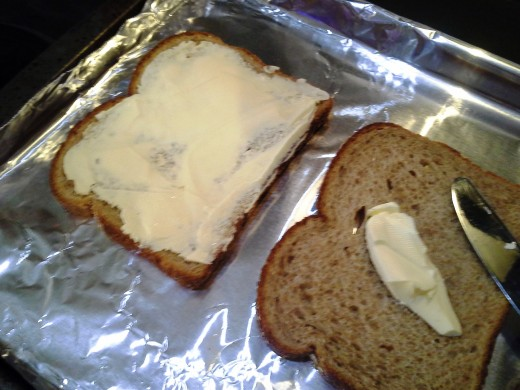 Make sure that you are spreading your butter enough to cover any sight of the bread below.