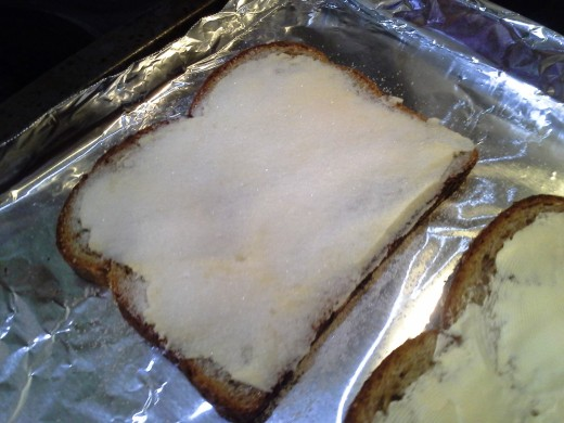 You'll want enough sugar on each piece to boil with the butter and create a crunchy layer on each piece of toast.
