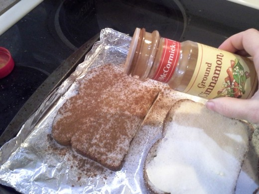 Step Five: Finally, sprinkle cinnamon on each piece of toast