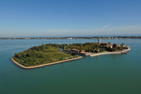 An aerial shot of Poveglia.