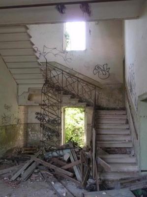 Stairwell in shambles.