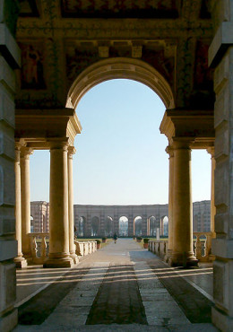 Terrace at Palazzo Del The, Mantua, Italy, 16th Century, design by Giulio Romano, incorporating classical columns and other features.