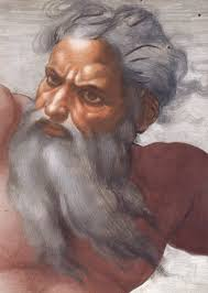 This is one of Michelangelo painting of God in his many paintings of God. But this does not prove that God is like this, because nobody has ever seen God, so, God can look and be just about anything, in fact God could be the universe itself.