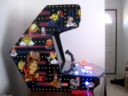 View of the side artwork on the tabletop arcade.