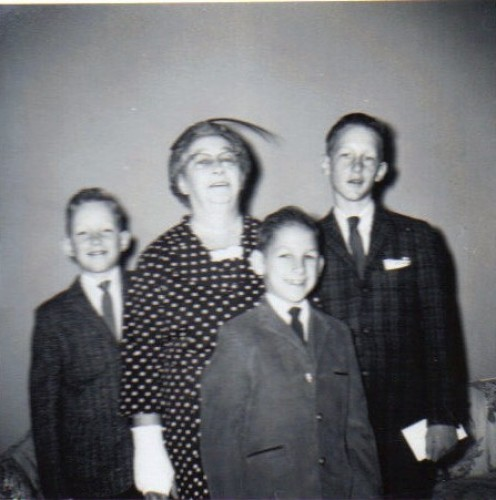 Fay Todd (Krebs) with her grandsons, Left to Right: David,Michael, and Timmy.