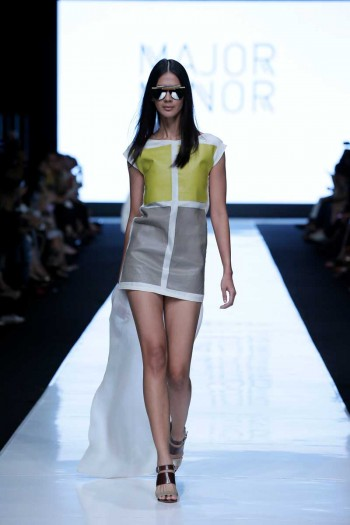 JAKARTA, INDONESIA – OCTOBER 19: A model showcases designs by Major Minor at the Indonesian Fashion Forward fashion show during Jakarta Fashion Week 2014 at Senayan City on October 19, 2013 in Jakarta. (Photo by Irvan Arryawan/Feminagroup)