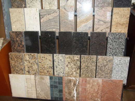 Assorted patterns and colors of granite countertop are available.