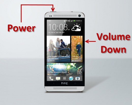 Power and Volume Down Buttons on HTC One