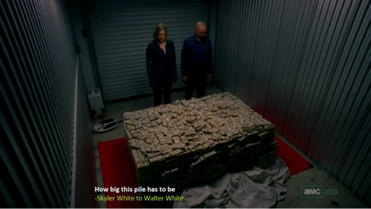 Skyler shows pile of money to Walter