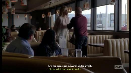 Skyler shouts at Hank in the restaurant