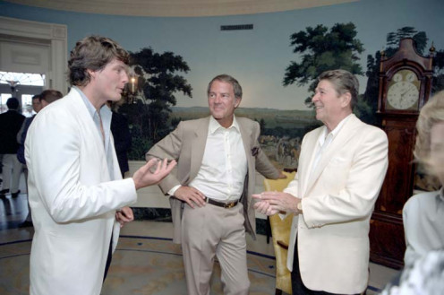 President Reagan (R) talking with Christopher Reeve (L) and Frank Gifford (C)