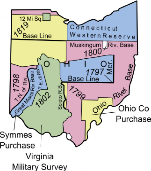 This map shows Symmes Purchase along with other major aspects of Ohio territories