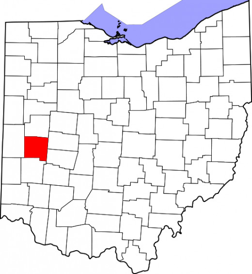 Location of Miami County in Ohio, home of Piqua and Troy