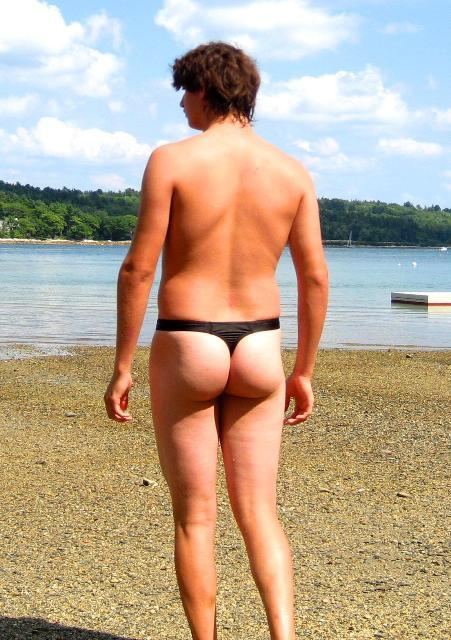 Guys can wear thongs too.  They shouldn't, but they do.