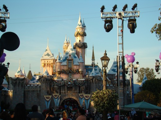 Snow White's Castle decorated for the Holidays at Disneyland