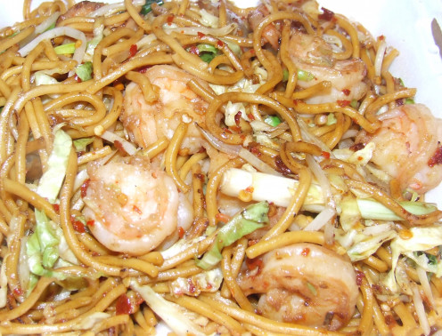 Shrimp Noodles topped off with spices.