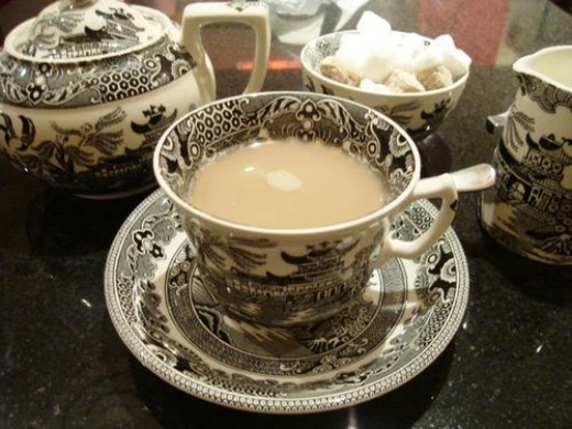 Black tea with milk is an old British tradition.