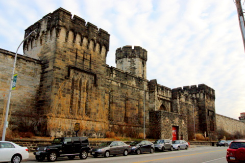 Entrance to Eastern State Penitentiary on Fairmount Avenue, Philadelphia, PA, USA