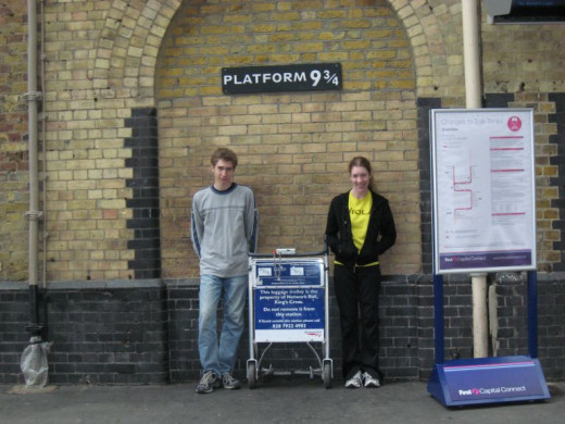 Platform 9 3/4 at King's Cross railway station.