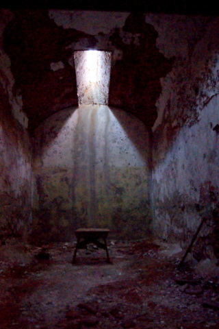This ordinary cell at Eastern State Penitentiary exemplifies the isolation of prisoners during the Separate System days.