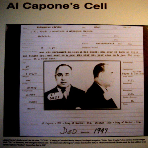 Photo of display of Al Capone's prison Photo.  c.1929