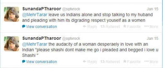 Some of Sunanda Pushkar's Tweets to Mehr Tarar