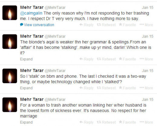 Mehr Tarar Tweeting about Sunanda Pushkar