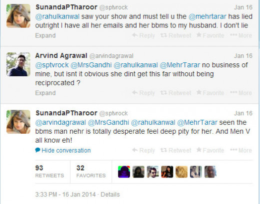 Sarcasm in Sunanda's Tweet? Probably Implying that Shashi Did Reciprocate Mehr's Flirty Messages