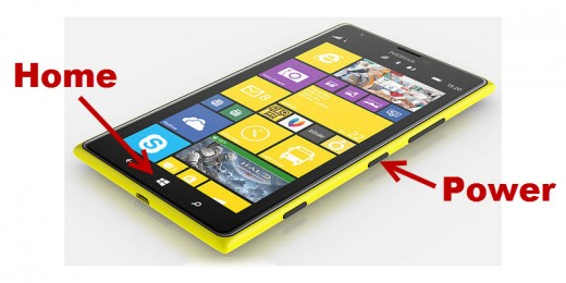 Power and Home Buttons on Nokia Lumia 1520. Some phones (such as HTC models) have the Power button at the top).