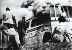Freedom Riders bus is burned, 1961